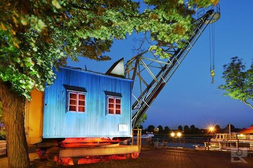Postkarte Illuminiertes Duisburg - Dampfkran Ruhrort