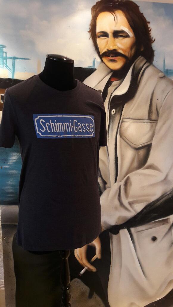 """Restposten T-Shirt """"Schimmi-Gasse"""" unifarben blau"""