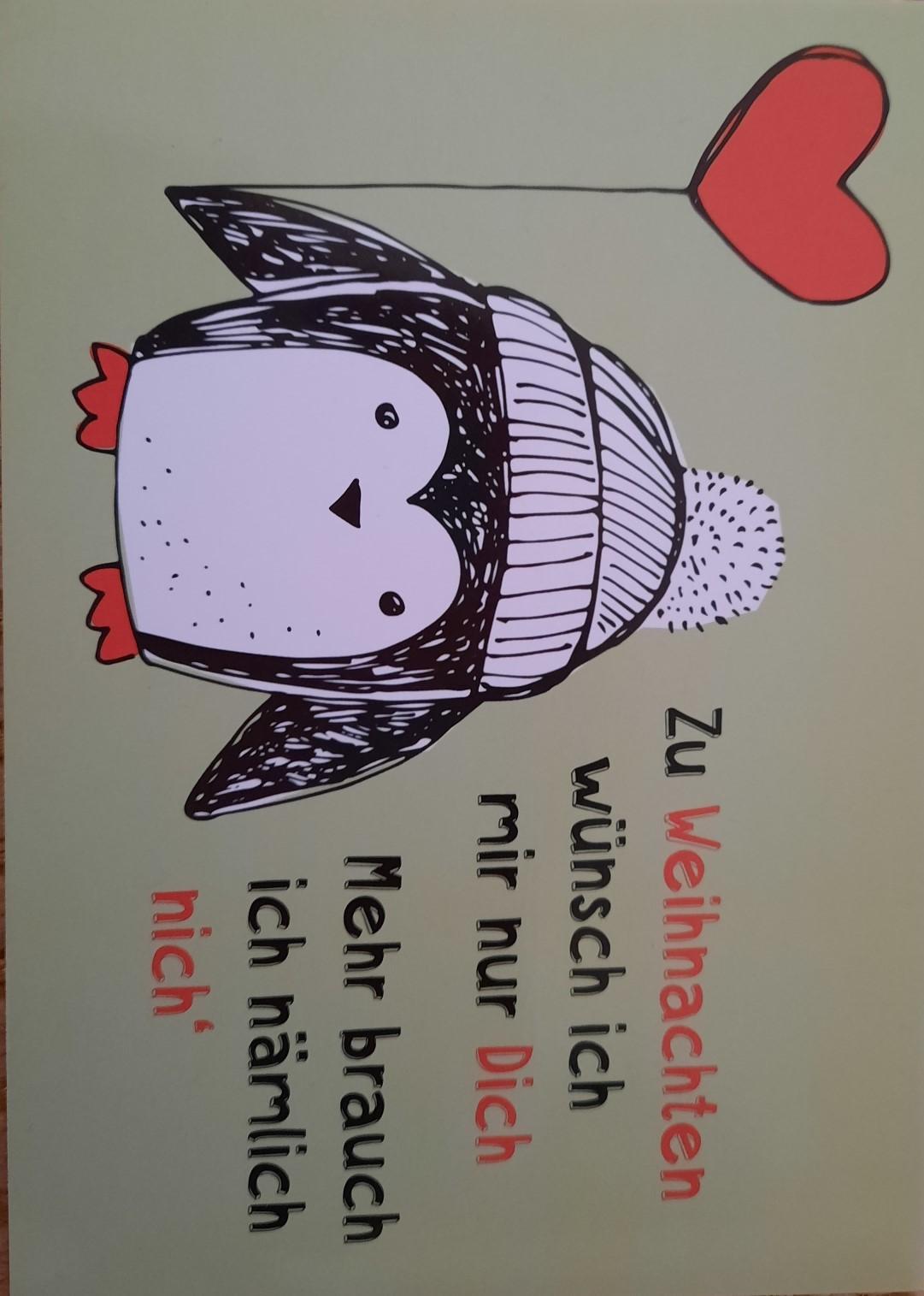 """Romantische Weihnachtspostkarte """"Brauche nur dich!"""""""